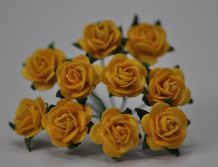 1.5cm DEEP YELLOW Mulberry Paper Roses